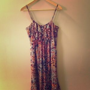 Pretty Floral Full Length Spaghetti Strap Dress